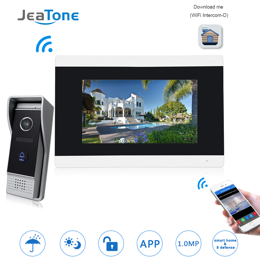 7'' Touch Screen Wireless WIFI IP Video Door Phone Intercom Video Doorbell Apartment Access Control System Motion Detection