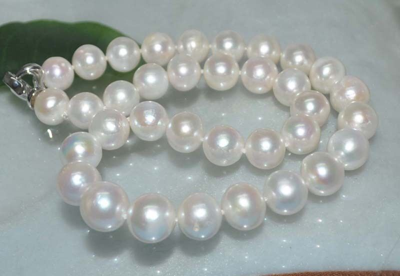 FREE SHIPPING HOT sell new Style >>>>Natural white 14mm round thick-skinned Pearl Necklace J9880 image