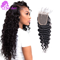10A Peruvian Deep Wave Closure Virgin Hair Top 4*4 Lace Closure Bleached Knots Virgin Unprocessed Human Hair Silk Base Closure