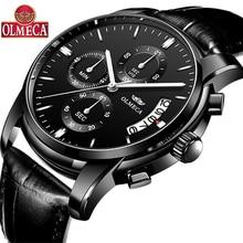 OLMECA Luxury Watches Men Business Fashion Chronograph Lumin