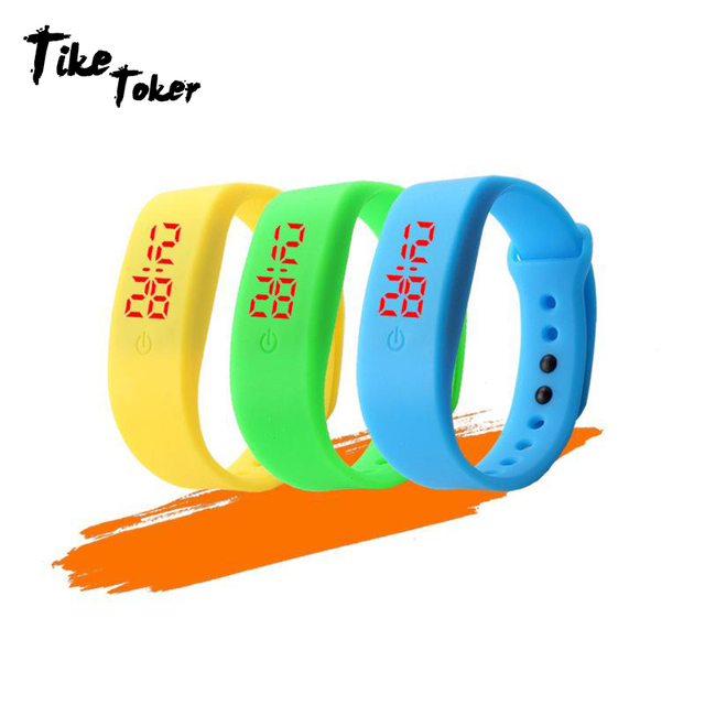 TIke Toker,Candy Color Men's Women's Watch Rubber LED kids Watches Date Bracelet