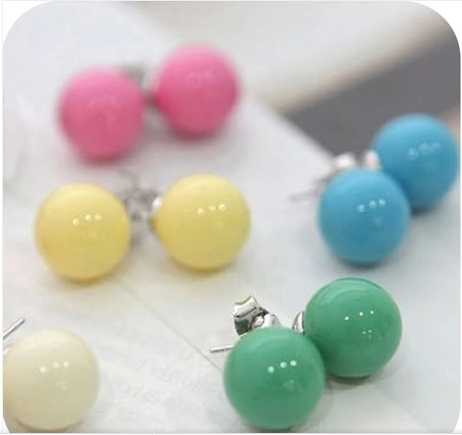 OMH wholesale 120pair OFF 30%=$0.14/pair EH02 accessories hot-selling candy qq ball all-match stud earring 2g