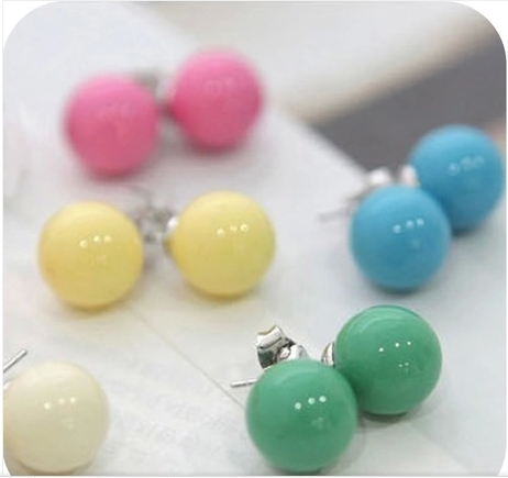 OMH wholesale 120pair OFF 30% =$0.14/pair EH02 accessories hot-selling candy qq ball all-match stud earring 2g