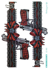 LC-405 21x15cm HD Women Large Tatoo Sticker Vintage Color Dark Red Pistol Design Cool Temporary Tattoo Stickers Taty