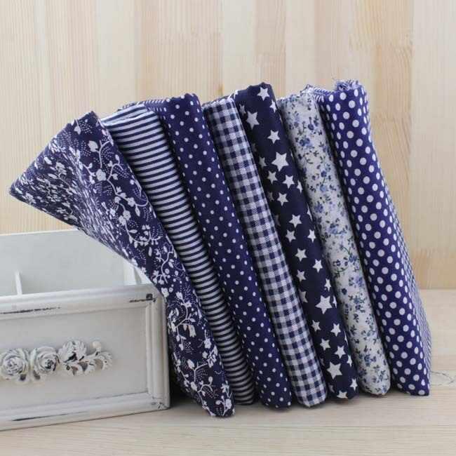 7 pcs Navy blu fat quarters Tessuto di Cotone Trapuntato per FAI DA TE Cucito Patchwork Borse Tilda Bambola di Stoffa Tessile Tessuto 50 cm x 50 centimetri