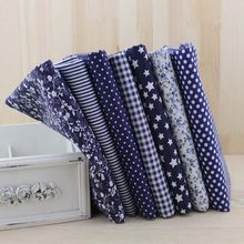 7pcs Navy blue fat quarters Cotton Quilting Fabric for DIY Sewing Patchwork Bags Tilda Doll Cloth Textiles Fabric 50cmx50cm(China)