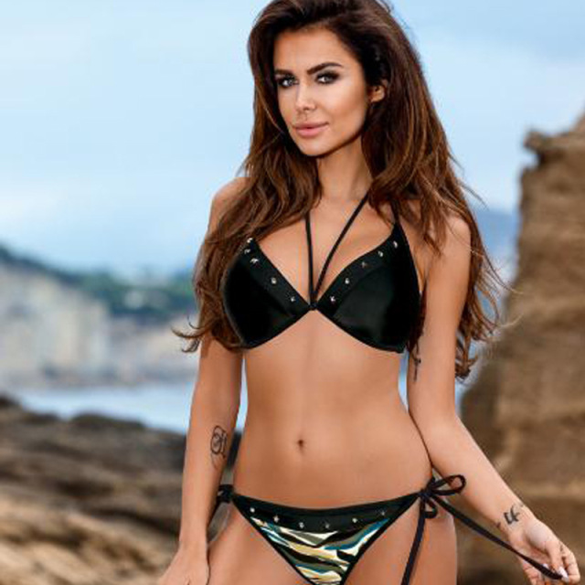Woman Swimsuit Camo Bikini Micro Rivet Push Up Bathing Suits Bandage Plus Size Swimwear Brazilian Bikini Women Swim Suits 2019
