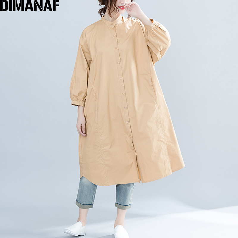 DIMANAF Women   Blouse     Shirts   Long Sleeve Cotton Big Sizes Female Clothes Lady Basic Tops Solid Batwing Loose Cardigan 2018 Autumn