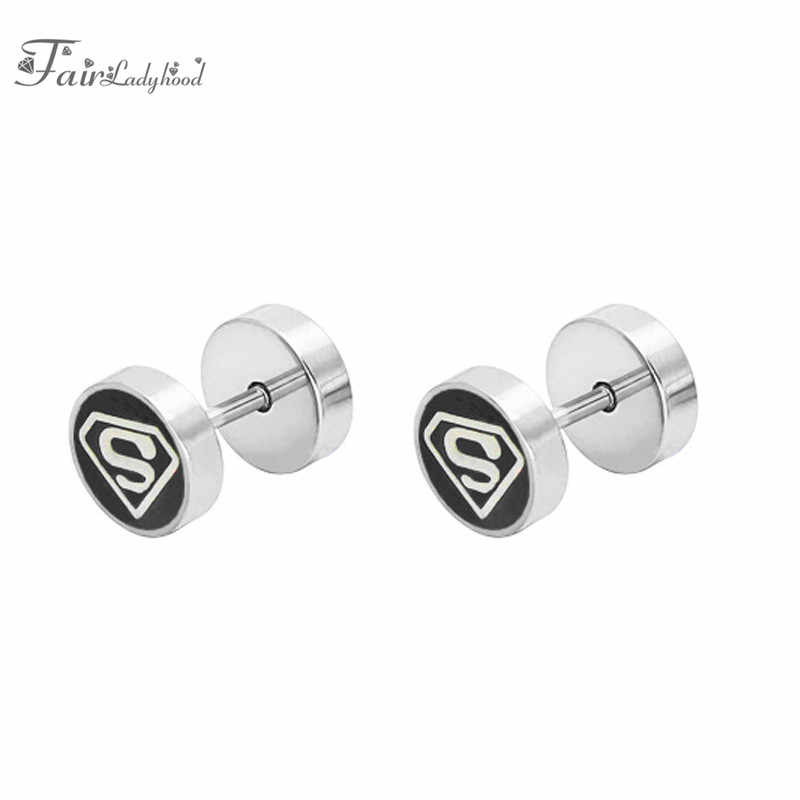 b38570d48 ... FairLadyHood Stainless Steel Women Men Barbell Dumbbell Swastika  Earrings Round Stud Earrings Male Jewelry Best Earings ...
