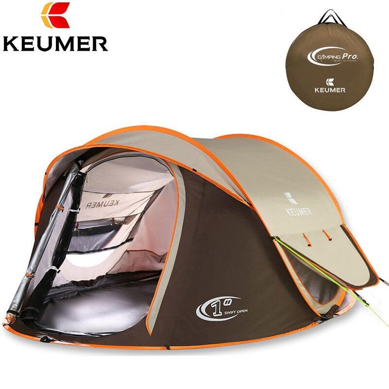 Camping tente grand espace Double couche 3-4 personnes nouvelle famille plage tentes camping en plein air étanche livraison gratuite