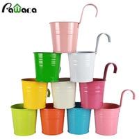 10pcs 10 Color Metal Iron Flower Pot Vase Wall Fence Hanging Planter Metal Bucket Round Balcony Garden Patio Planter Home Decor