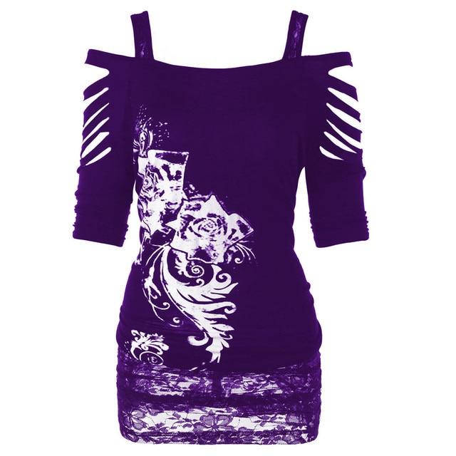 אופנה נשים כבויה כתף רוק גותי חולצה מקרית Ripped קלע חולצה למעלה 2018 חדש הגעה משלוח חינם ot9