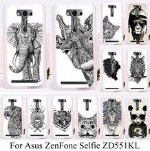 Soft TPU Hard Plastic Phone Case For Asus ZenFone Selfie ZD551KL 5.5 inch Cute animal Hard PC Skin Cover Cartoon Painting bag(China (Mainland))