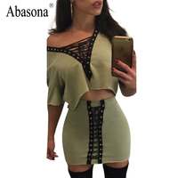 Abasona Two Piece Set Lace Up Sexy Dress Women Summer 2017 Vintage V Neck Rivet Party