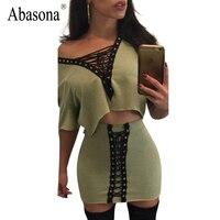 Abasona Two piece set lace up sexy dress women summer 2017 Vintage v neck rivet party dresses Black hollow out bodycon dress