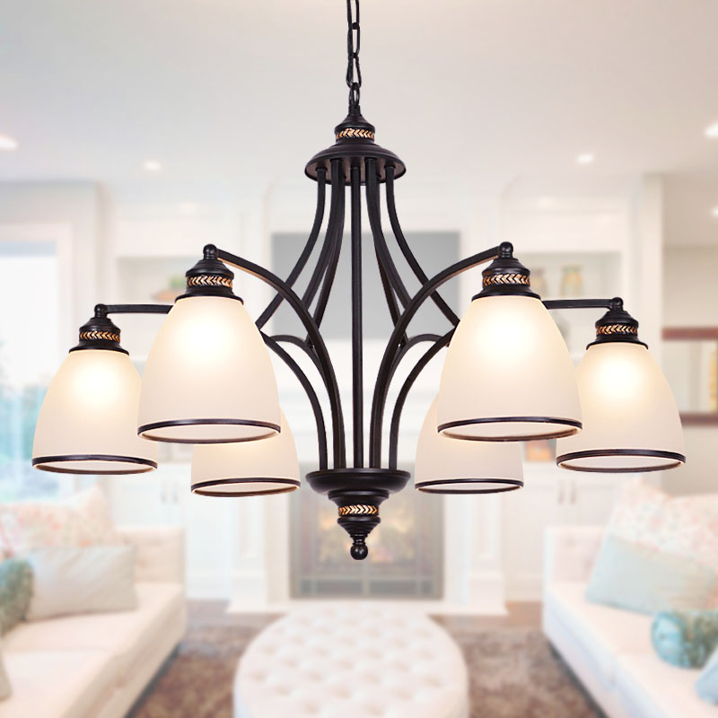 American country wrought iron chandelier retro black living room dining room lamp European style simple rural glass lampAmerican country wrought iron chandelier retro black living room dining room lamp European style simple rural glass lamp