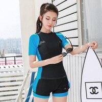 L 5XL Girls Tankini Swimsuits Professional Two Piece Swimwear Women Bikini Short Sleeve Summer 3 Colors Swimming suit For Female