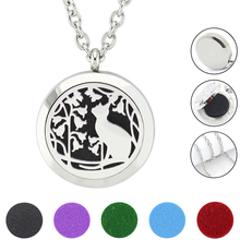 With Chain as Gift!Fashion Cat loccket necklace  316L Stainless Steel Aromatherapy  Essential Oil Diffuser pendant Necklace
