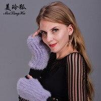 ニット女性リアルミンクの毛皮の手袋厚く暖かい毛皮冬グローブ新しい2017ファッション女
