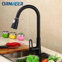 Antique Design Black Kitchen Faucet Brass Pull Out Kitchen Sink Faucet Hot And Cold Water Black