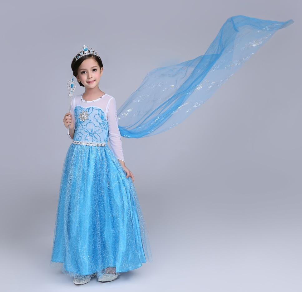Free shipping girl Frozen dress with removable Cloak new style European and American princess dress FORZEN costume for Halloween