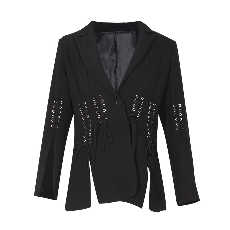KAMIYING New Arrival Lace Up Split Blazer For Women Notched Collar Long Sleeve Elegant Coat Female 2020 Fashion Clothing