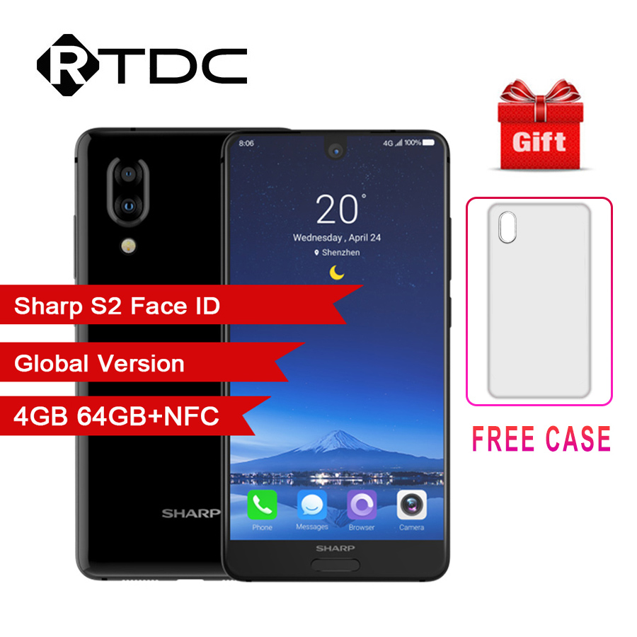 SHARP AQUOS C10 S2 Android 8.0 4GB+64GB 5.5'' FHD+ SmartPhone Snapdragon 630 Octa Core Face ID NFC 12MP 2700mAh 4G Mobile Phone