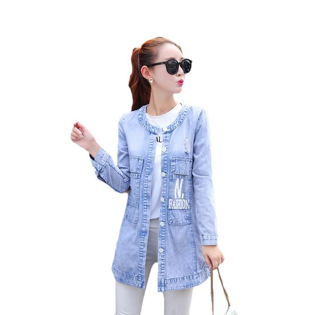 2017 Primavera Nuevas mujeres del dril de capa de la chaqueta de Alta Calidad Única pecho Outwear Abrigos Rasgado Agujero 3D Print Wash Jean Chaquetas S-3XL