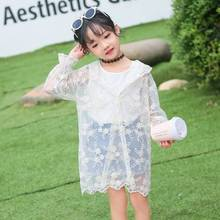 2019 summer new Korean version of female baby gauze sleeve embroidery childrens coat mosquito proof sun protective clothing