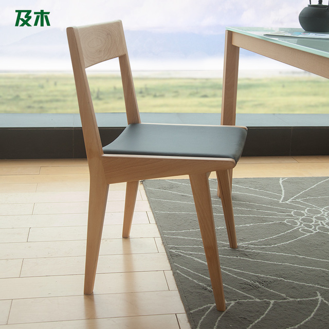 Scandinavian Modern Minimalist Furniture And Wood Beech Wood Chairs Wood  Fashion Design Leather Dining Chairs YZ033