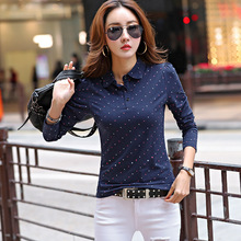 New Women Long Sleeve Polos Dots Print Casual Polo Shirt Girls Lady Lapel Knit Cotton Spring Autumn Tops Tees