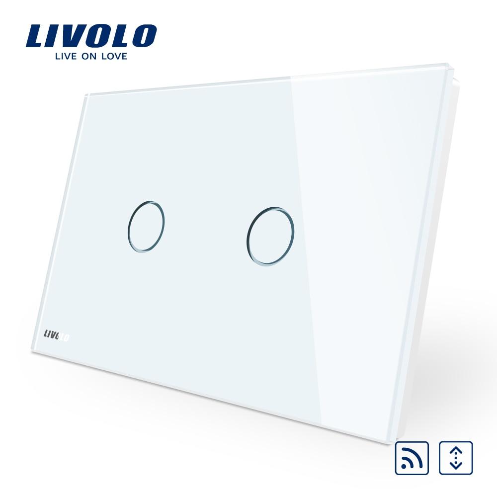 AU/US standard,Livolo White Crystal Glass Panel,  AC 110~250V/50~60Hz Wireless Curtain Remote Switch VL-C902WR-11