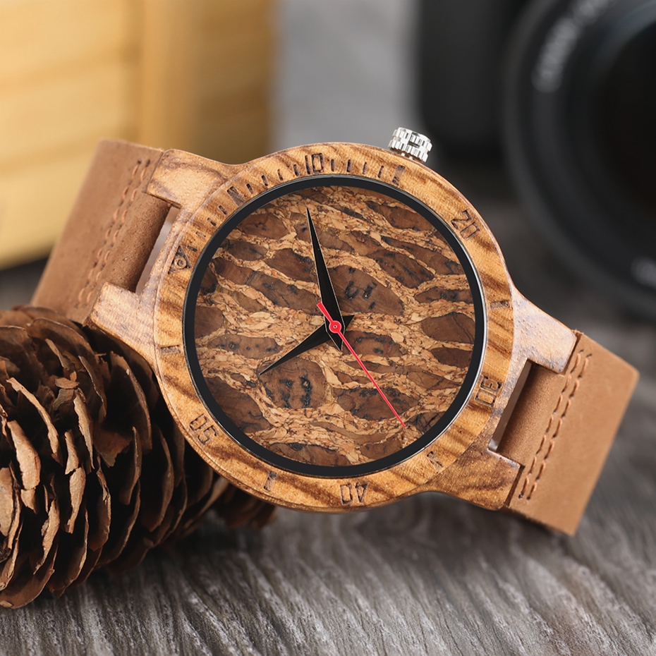 Creative Simple Wood Watches Men's ZebraCork SlagBroken Leaves Face Wrist Watch Original Wooden Bamboo Male Clock Relogio 2017 2018 Christmas Gifts (9)