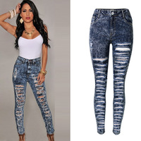 Snow Dots Women Sexy Skinny Ripped Jeans Plus Size High Waist Denim Distressed Jeans Femme Elasticity