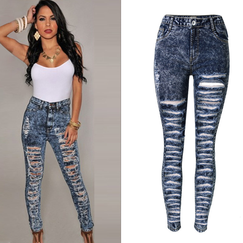 Snow Dots Women Sexy Skinny Ripped Jeans Plus Size High Waist Denim Distressed Jeans Femme Elasticity Pencil Jeans 2017 ZIH049  giyi plus size 5xl 4xl mid waisted skinny distressed jeans women sexy ripped denim pants femme slim trousers ladies summer 2017