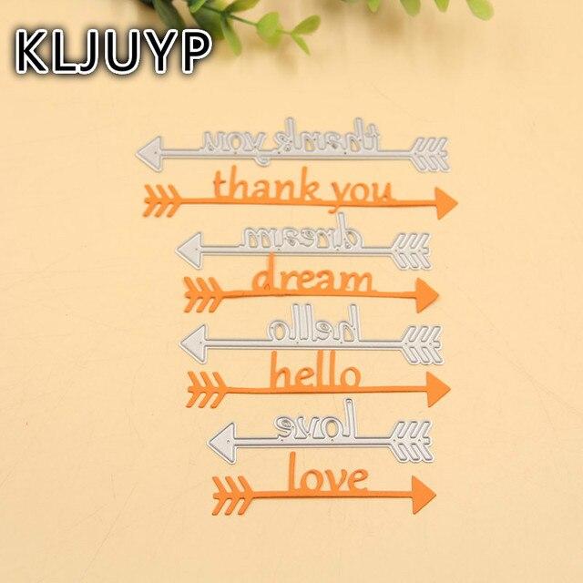 KLJUYP Parole Frecce Metallo Taglio Muore Stencil per DIY Scrapbooking Timbro/photo album Decorative Goffratura Carte di Carta FAI DA TE