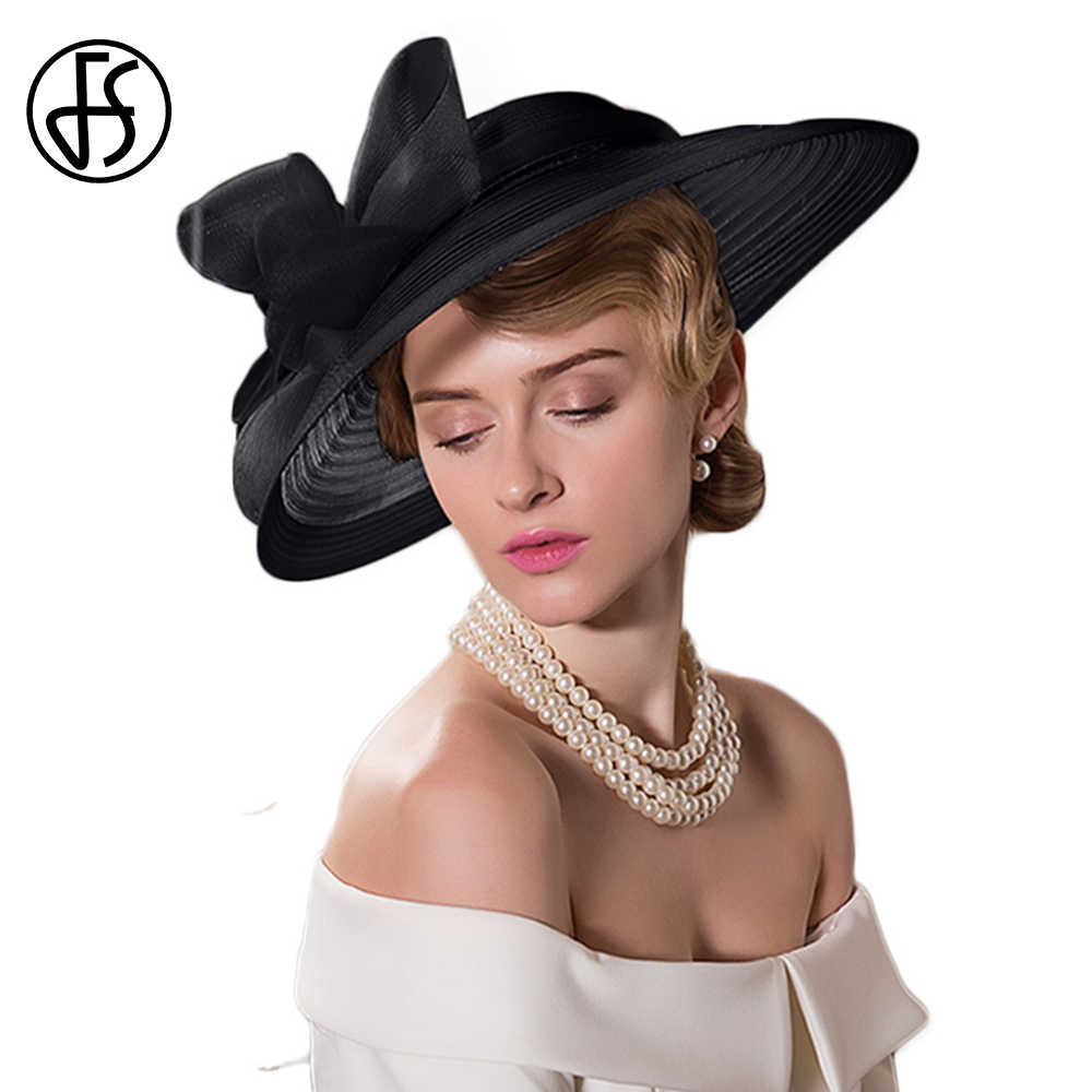 FS Fascinators Vintage Wide Brim Fedoras Hats For Women Elegant Lady Black White Bow Kentucky Derby Church Tea Party Hat Chapeu