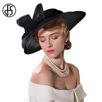 FS tocados Kentucky Derby sombrero para las mujeres dama elegante negro lazo blanco fiesta de té sombreros para Misa todo el verano sombrero mujer sombreros