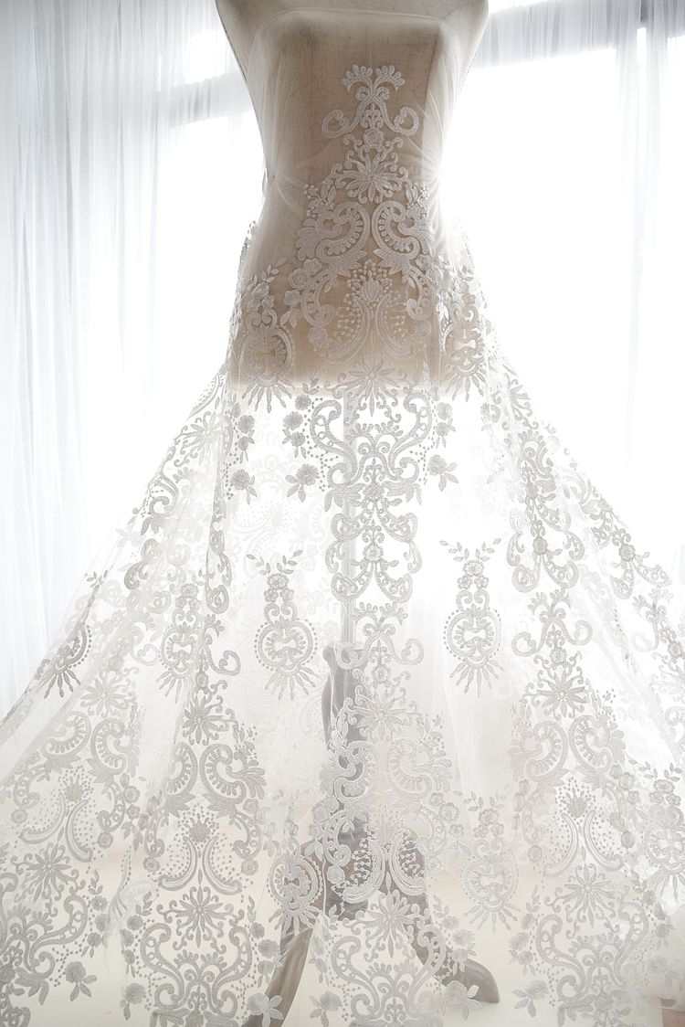 embroidered ivory tulle mesh lace material for wedding gown home ...