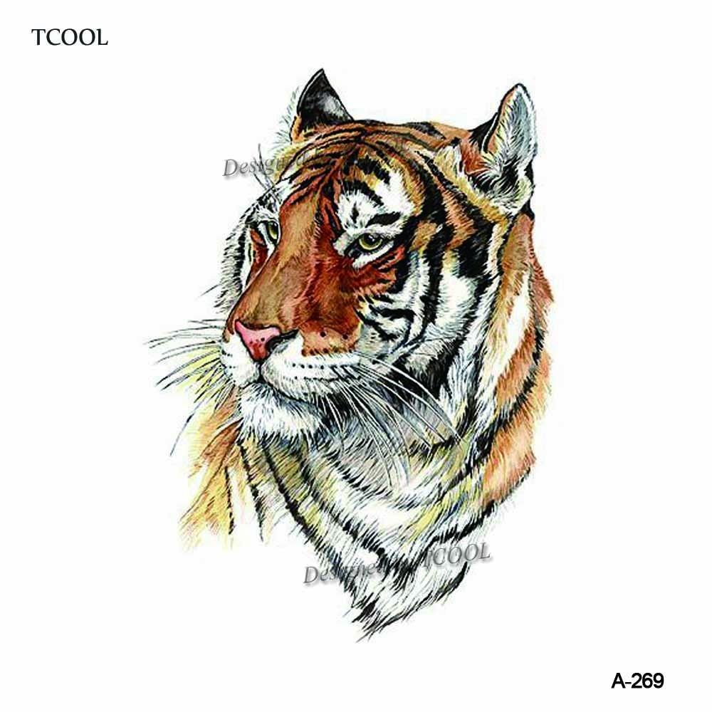 HXMAN Tiger Temporary Tattoo Sticker For Waterproof Men Fake Body Art Animal 9.8X6cm Fashion Women Hot Design Sticker A-269