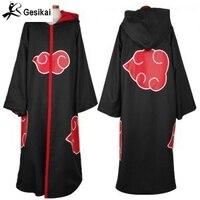 Japoński Anime Naruto Akatsuki Cloak cosplay costume Akatsuki Ninja Sasuke Uniform Robe Cloak Członków Organizacji z kapturem