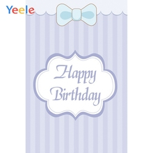 Yeele Happy Birthday Party Decor Stripe Bow-knot Photography Backdrops Personalized Photographic Backgrounds For Photo Studio