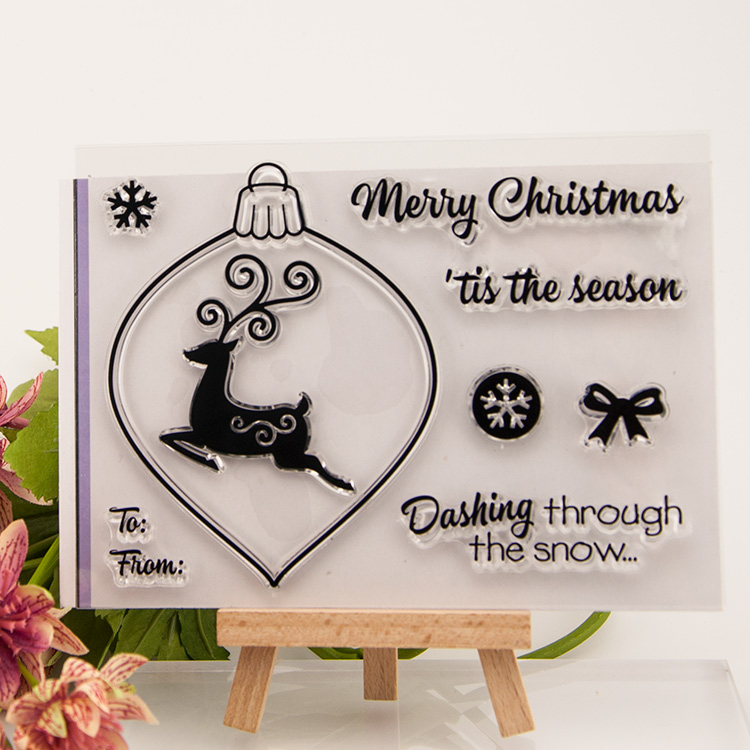 Clear stamp Christmas deer Scrapbook DIY photo cards account rubber transparent seal handwork art Kid gift купить
