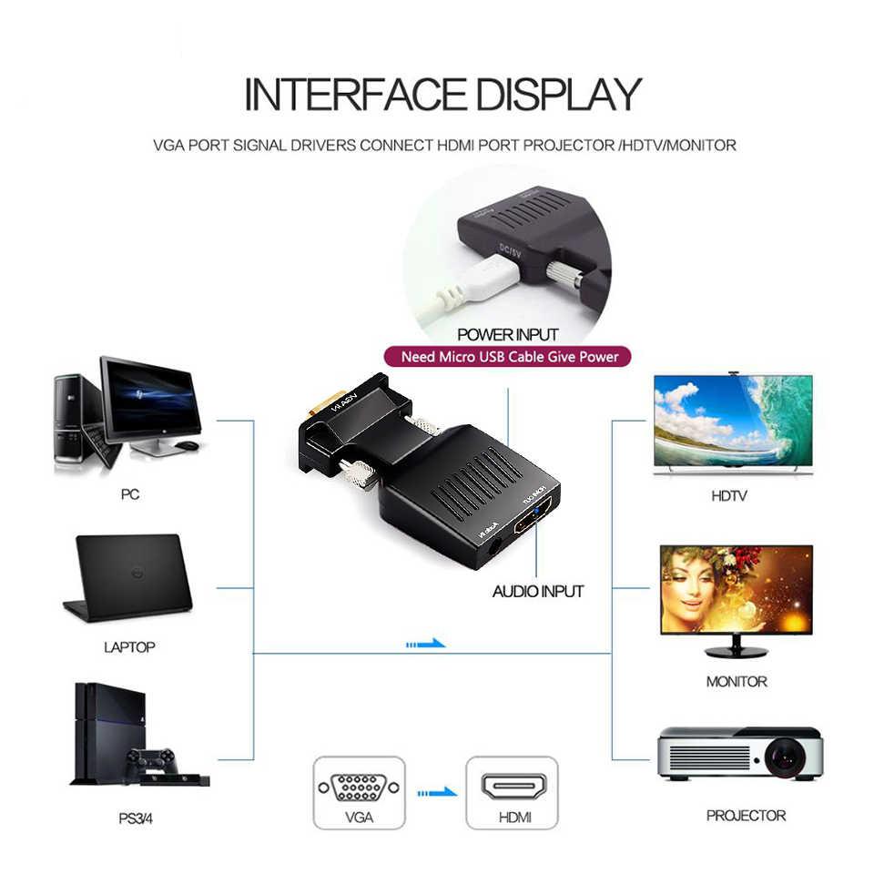QGeeM преобразователь из VGA в HDMI с аудио Full HD VGA в HDMI адаптер с видео выходом 1080P HD для ПК ноутбука HDMI toVGA