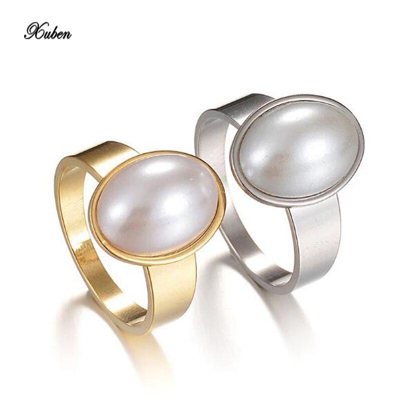 Xuben Pearl Ring Женский Вакуумный позолота нержавеющей стали