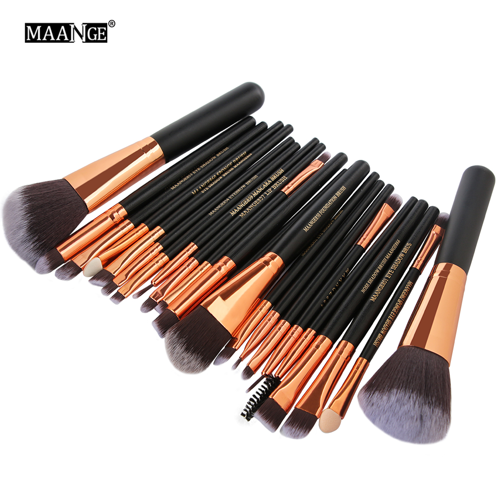 MAANGE Pro 22Pcs Makeup Brushes Set Cosmetic Eyeshadow Eyeliner Powder Foundation Blush Lip Beauty Make up Brush Maquiagem Tools maange 22 pcs pro makeup brush kit powder foundation eyeshadow eyeliner lip make up brushes set beauty tools maquiagem