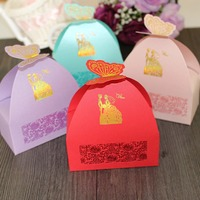 50pcs/lot 4 Colors Creativity European Wedding Decoration Home Design Wedding Favor Butterfly Paper Candy Boxes Best Candy Box
