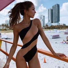 Стиль женский цельный бикини пуш-ап Мягкий Купальник Одежда для купания пляж монокини полоса Тощий одно плечо мода