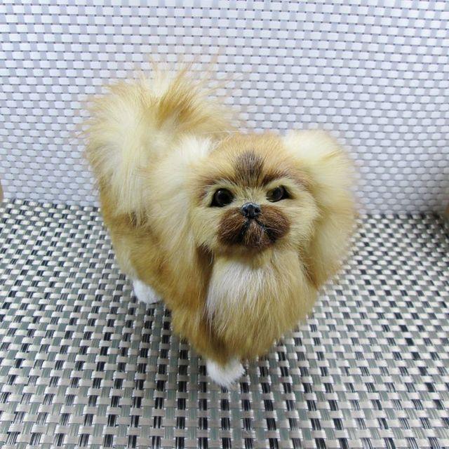 ענק חמוד קטן בובת כלב פקינז פוליאתילן & פרוות כלב צעצוע סימולציה מתנה TZ-34