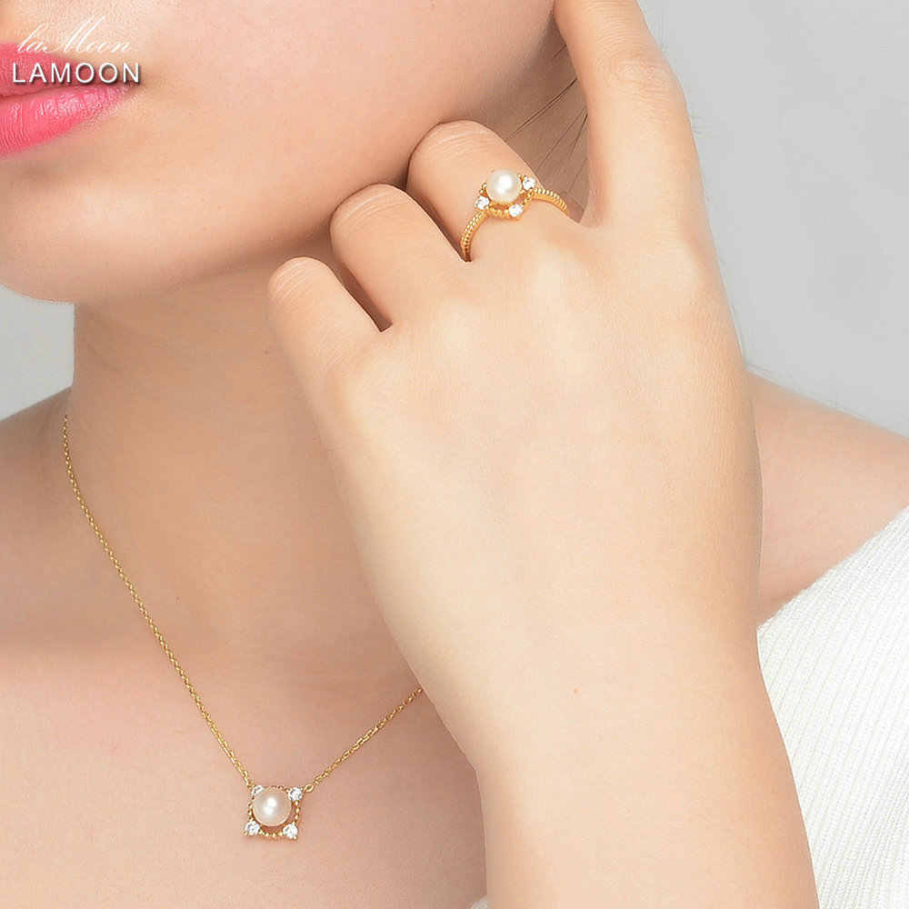 LAMOON S925 Sterling Silver Jewelry 7-8mm Freshwater Pearl Jewelry Set for Women Wedding Party Stud Earring Ring Sets V036-4